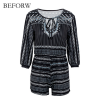 BEFORW Sexy Ruffle Print Jumpsuit Romper Women Deep V Neck Overalls Causal Hollow Out Beach Playsuit