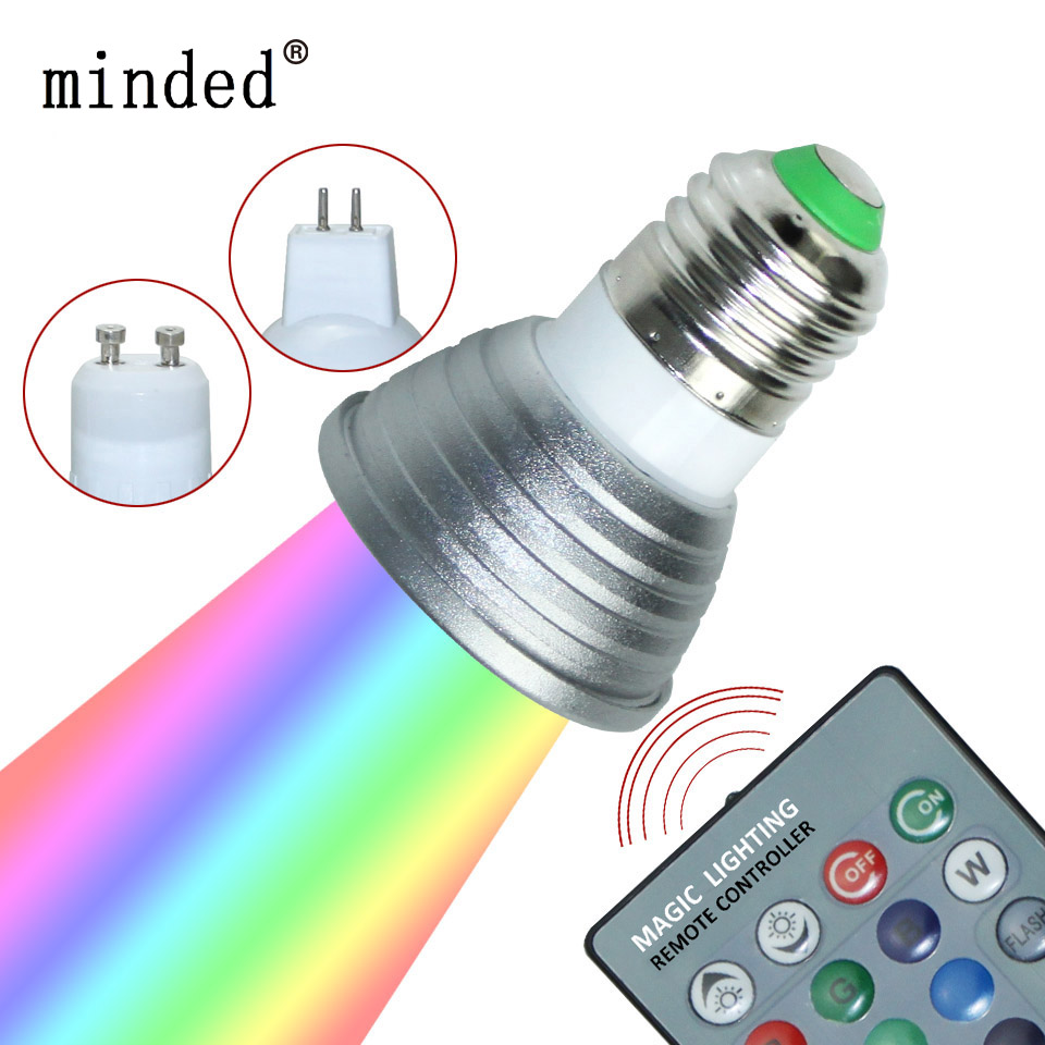 led 16 colour rgb spotlight e27 gu10 ac 85 265v mr16 dc 12v rgb colourful lamp led 3w lighting. Black Bedroom Furniture Sets. Home Design Ideas