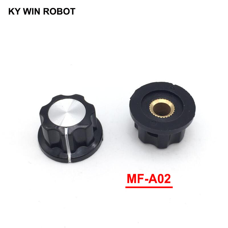 5pcs/lot MF-A02 A02 Potentiometer Knob Cap Inner 6mm 23x13mm Rotary Switch Bakelite Knob copper core inner for WHT118 WX050