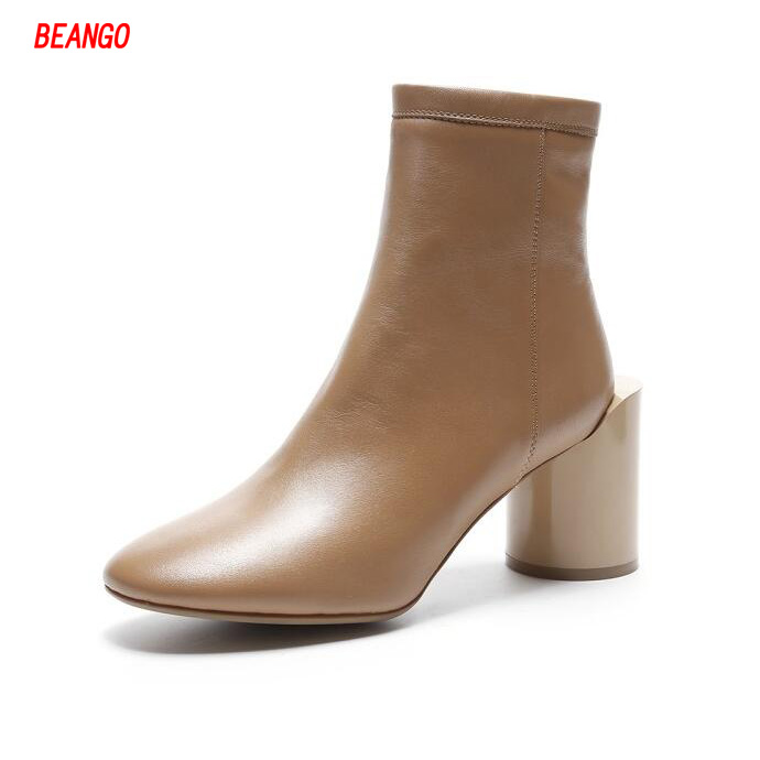 BEANGO Autumn Winter Solid Color Ankle Boots Women Fashion Round Toe Strange Chunky High Heels Genuine Leather Short Boots Shoes front lace up casual ankle boots autumn vintage brown new booties flat genuine leather suede shoes round toe fall female fashion