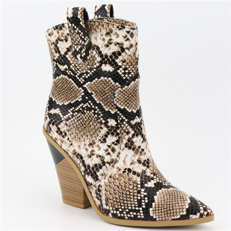 EUR Size 34-46 Brand women boots snake thick high heels autumn winter boots high quality fashion short ankle boots ladies shoesEUR Size 34-46 Brand women boots snake thick high heels autumn winter boots high quality fashion short ankle boots ladies shoes