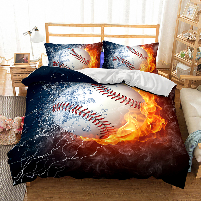 drop shipping 3d baseball bedding set print duvet cover set bedclothes with pillowcase bed set boy - Baseball Bedding