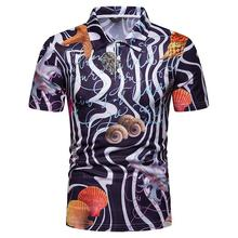 Polo Shirt for Men Hawaiian style Summer Tops Sea star conch Short sleeves Mens Clothing New