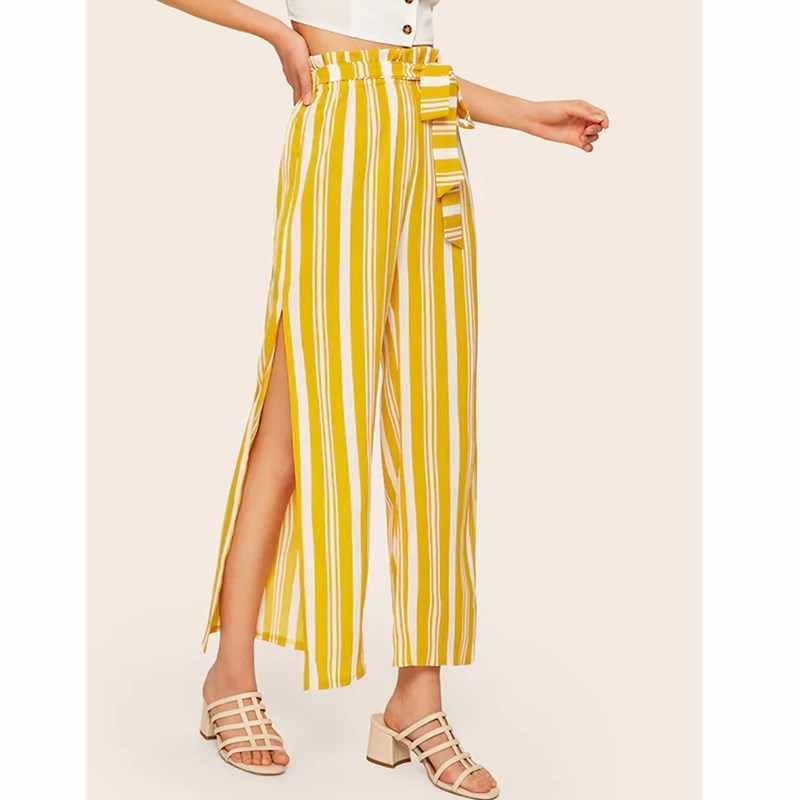 Pantolon Kadın Kargo Yüksek Bel Geniş Bacak Bayan Şerit Streetwear Modis Uzun Bölünmüş Hip Hop Pantolon Pantolon Pantalon Femme
