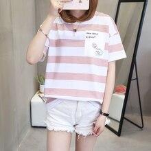 women t shirt Striped womens streetwear plus size 2018 fashion short sleeve tshirt brand clothing female tops harajuku kawaii
