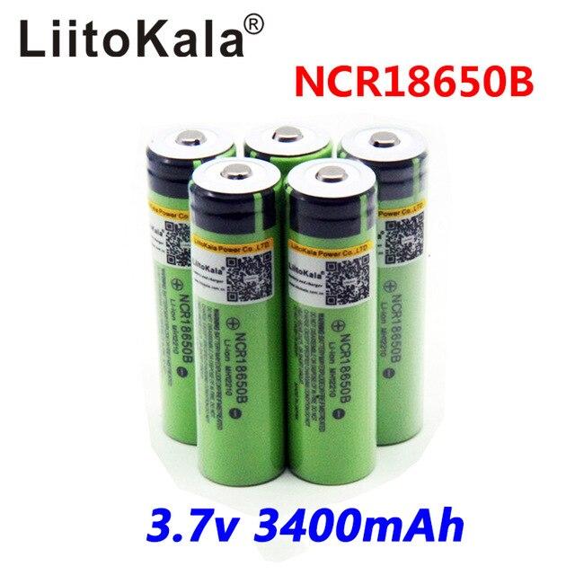 5 pcs / lot 2017 liitokala <font><b>18650</b></font> <font><b>3400</b></font> <font><b>Battery</b></font> <font><b>3400</b></font> <font><b>mAh</b></font> 3.7 V Rechargeable Li-ion <font><b>Battery</b></font> for Panasonic NCR18650B Flashlight