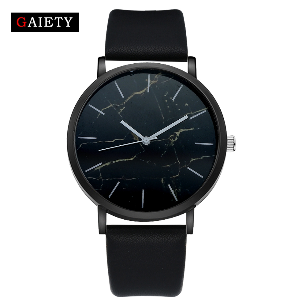Watch Men Black Leather Fashion Wristwatch Quartz Clock GAIETY Top Brand Women Dress Watch For Ladies