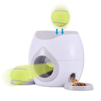 Pet Interactive Tennis Ball Automatic Throwing Fetch Machine And Food Dispenser, Dog Puzzle Reward Game Toy Slow Feeder