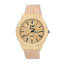 New Style Wooden Print PU Leather-based Quartz Wristwatches Wrist Watch Hours for Girls Women Women Sizzling Sale