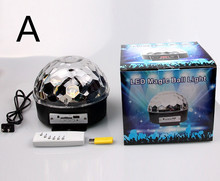 USB Crystal Magic Ball LED MP3 DJ Club Pub Disco Party Stage RGB Light 4-Modes