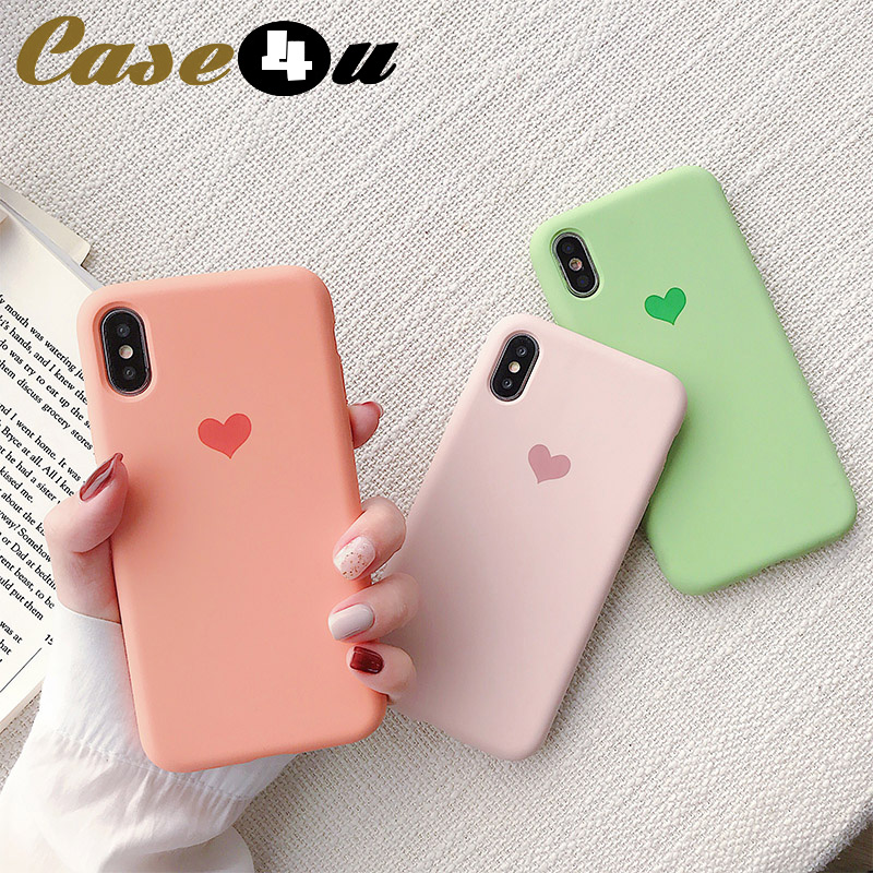 Smooth Microfiber Liquid Silicone Rubber Phone Cases For iPhone 6 6s 7 8 Plus XS MAX XR X 10 8Plus 7Plus Love Heart Logo Cover(China)