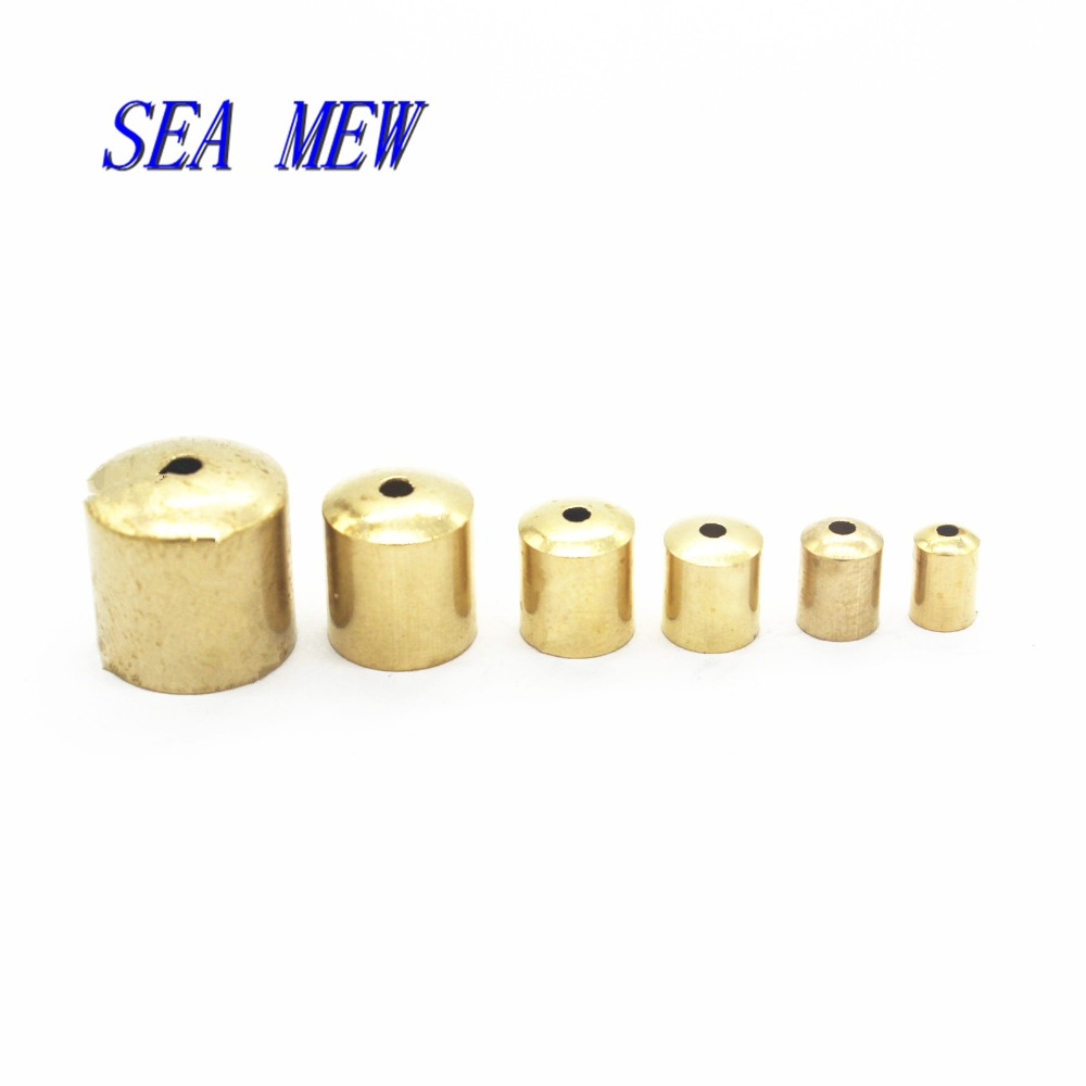 SEA MEW 100 PCS Metal Raw Brass Tassel Caps Crimp End Beads 11 Size DIY Accessories For Jewelry Making