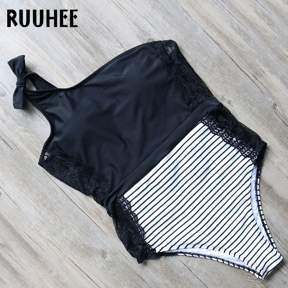RUUHEE One Piece Swimsuit Swimwear Women Sexy Lace Bodysuit 2018 Bathing Suit One Shoulder Swimming Suit For Women With Pads