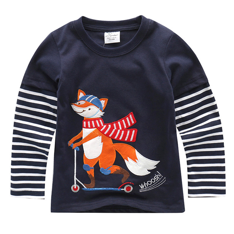 Jumping Kids T-shirts for Boys Cotton animals dinosaur Tops Autumn Children Print Tees Infant O-neck Tshirts Boys Tops T Shirts