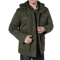 Male Winter Cotton Cashmere Parkas men Casual Multi pockets Hooded Collar Windbreaker Parkas Plus Size 7XL 8XL Winter Jacket
