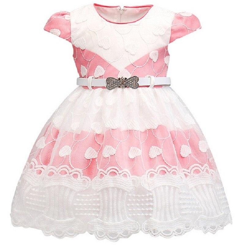 Multi-style girl princess dress High quality short sleeve pink white stitching Dream dress baby child baptism birthday clothes