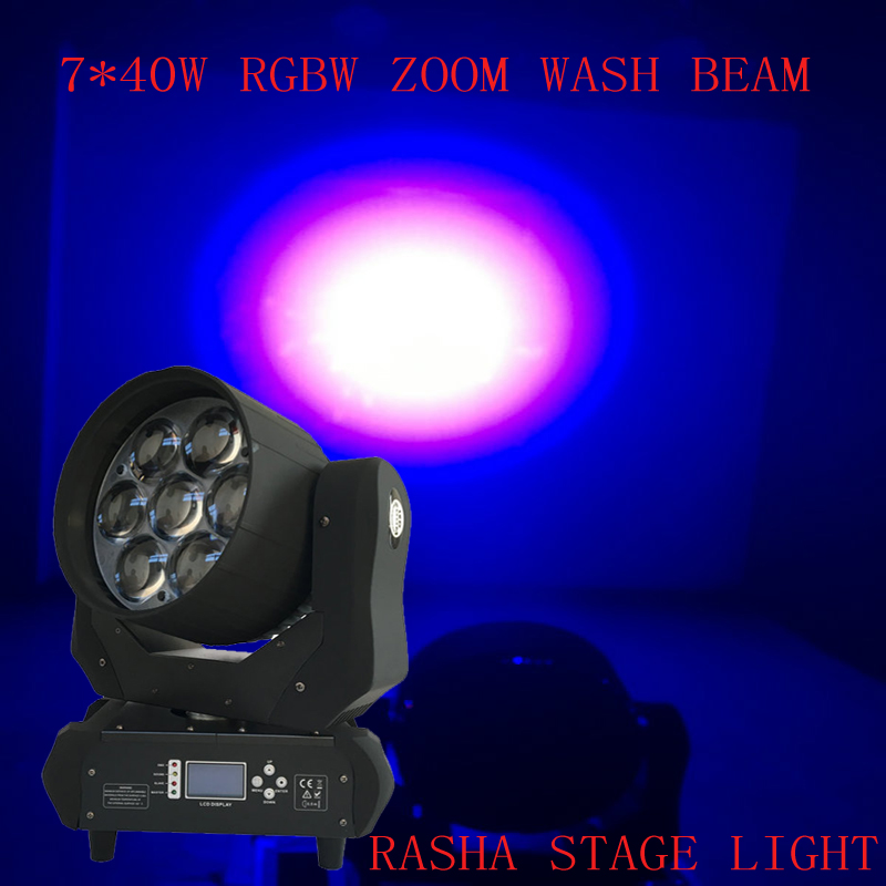 Rasha New 7leds*40W DJ Lighting 4in1 RGBW ZOOM Wash LED Moving Head Light Stage Disco Moving Head Mini Bee Eye With 14 Channels