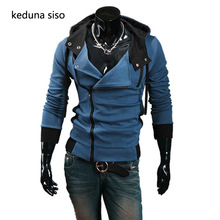 Male Hoody Autumn Winter Oblique Zipper Casual Slim Long sleeve Hiphop Assassin Creed Hoodies Sweatshirt Outerwear
