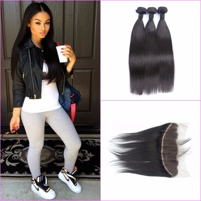 Peruvian Lace Frontal Closure With Bundles Straight 4pcs Lot Full
