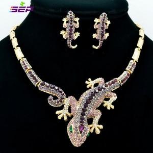 Image 2 - Fashion  Animal Gecko Lizard Necklace Earring Sets with Rhinestone Crystal Women Jewelry Set FA3274