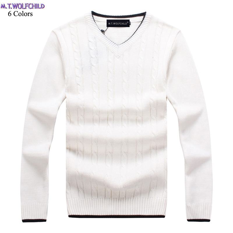 100% Cotton Good Quality Mens Long Sleeve V-neck Knitted Sweaters Mens Pullovers Knitted Clothing Fashion Slim Mens Tops M-3XL