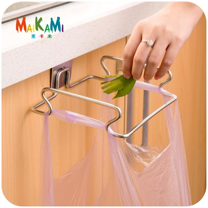cupboard door back stainless steel trash rack storage garbage bag holder hanging kitchen cabinet hanging trash - Trash Bag Holder
