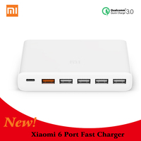 100% Original XIAOMI Charger 60W 6 Port Fast Charger QC3.0 Phone Smart Device 5 USB A Port 110-240V 5 USB QC 3.0 quick charger