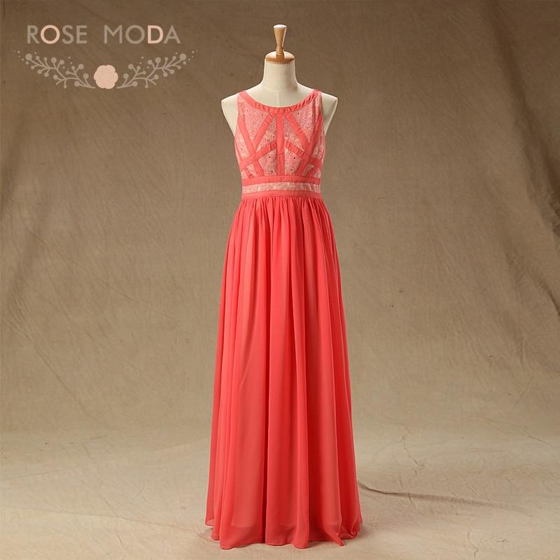 Rose Moda Sleeveless Coral Lace   Prom     Dress   Xmas   Prom     Dresses   2018