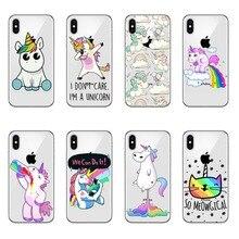 Cute Unicorn Rainbow Case For iPhone 5 5s SE 6 6s 7 7Plus 6Plus  X10 Unicorns High quality silicone soft TPU mobile phone Cover