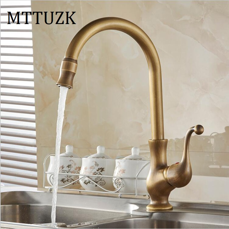 US $49.99 |MTTUZK Free Shipping! Brass antique faucet kitchen faucet  antique kitchen faucet cottage faucet can be rotated 360 degrees-in Kitchen  ...