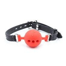 35mm/45mm/50mm Weiche Silikon Öffnen Mund Gag Ball BDSM Bondage Fesseln Sex Spielzeug Für erwachsene Offene Loch Belüftung Gag Für Frauen