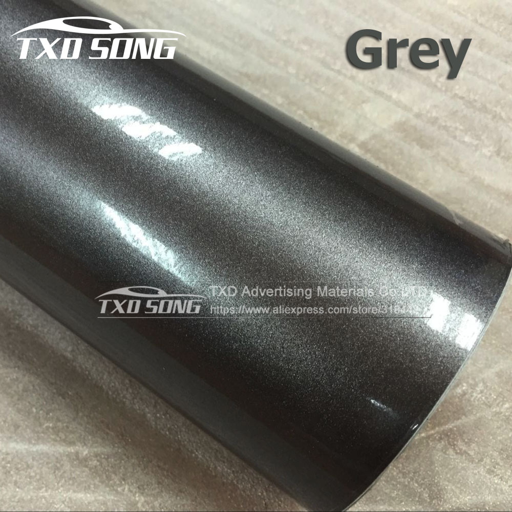 Premium New Grey Glossy Metallic Pearl Glitter Film With Air Free Bubblmes Glossy Metallic Pearl Car Wrap Vinyl Film