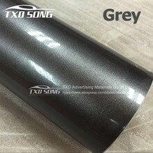 Premium New Grey Glossy metallic pearl glitter film With air free bubblmes glossy metallic pearl car wrap vinyl film