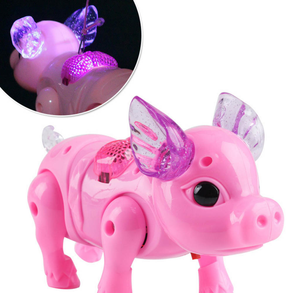 Electric Running Pig Toy LED Glow Music Walking Pig Kids IQ Developmental Education Toys Electronic Pets Random Color