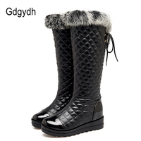 Gdgydh Real Fur Knee High Boots For Women Winter Shoes Plush Inside Warm Ladies Outerwear Shoes