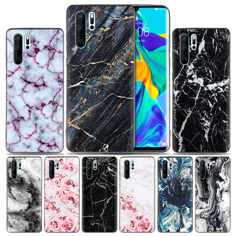 Luxury Marble Stone Lites Fashion Soft Fitted Case For Huawei P30 P20 P10 lite Pro P Smart 2019 + Plus View 20 Nova 4 4E Cover