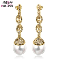 DreamCarnival 1989 Long Drop Earrings For Women Created Pearl Sparkle CZ Linked Chain Style Bridal Jewelry