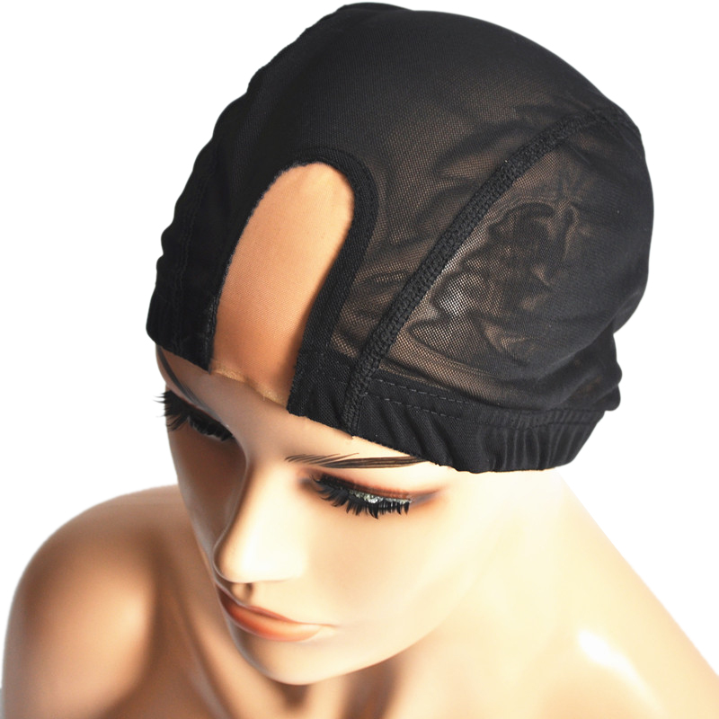 1pcs Black U Part Wig Cap With Swiss Lace Net For Making Wig With Adjustable Straps Top Stretch Gluless Weaving Cap