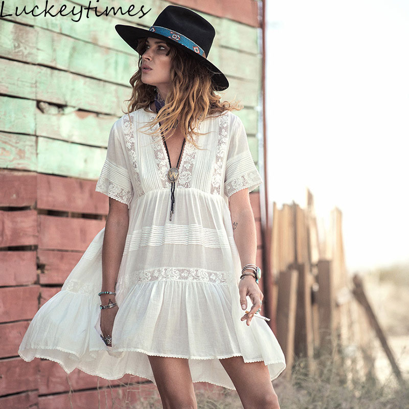 Luckeytimes Casual Loose Summer Dress Women 2019 Chic V-Neck Maxi White Lace Dresses Hippie Gypsy Style Beach Boho Vestidos SML