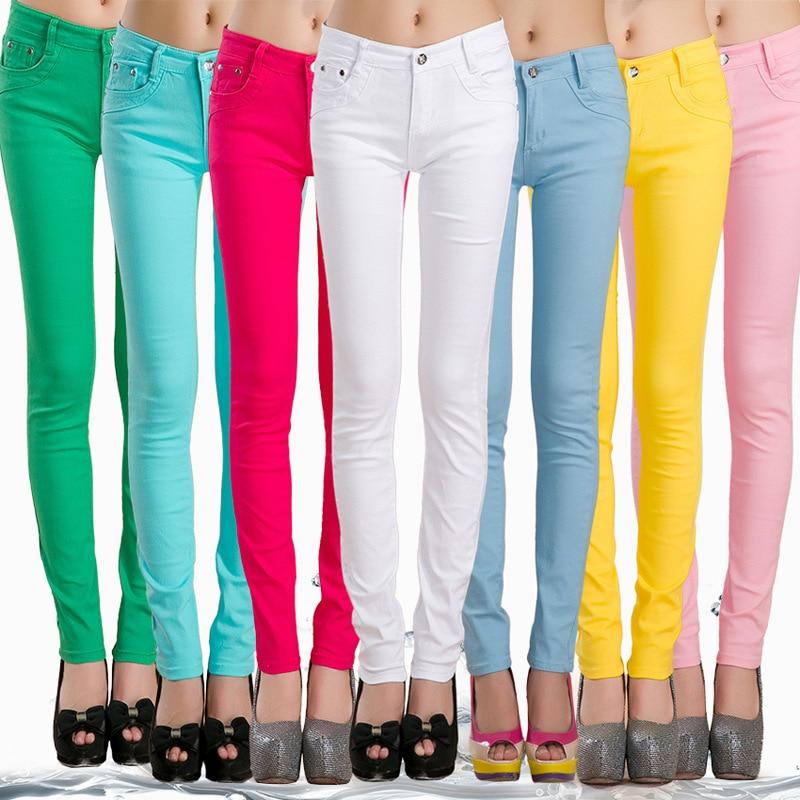 FSDKFAA Woman   Jeans   Solid Pencil Women Pants Girls Sweet Candy Color Slim Trousers Femme Pantalon Good Quality Women Leggings