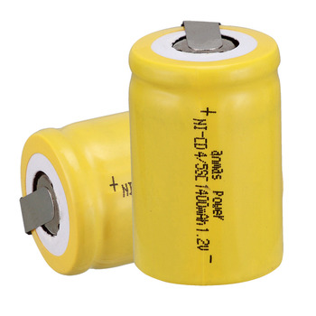 Anmas power!Popular Yellow color ! 2PCS a set Ni-Cd 4/5 SubC Sub C 1.2V 1400mAh Rechargeable Battery with Tab image