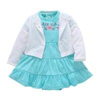 2017 Brand Baby Girls Clothing Kids 2pc Set 100 Cotton Jumpsuit Dress Shorts Dress Newborn Toddler