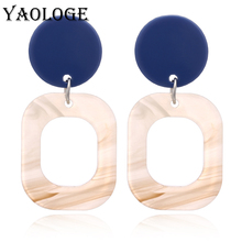 YAOLOGE Fashion Square Acrylic Stud Earrings Simple Round Geometric Hawaiian Beach Vintage Statement Jewelry For Women