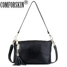 COMFORSKIN  Bolsas Feminina Luxurious Cowhide Leather Messenger Bags High Quality European And American Tassel Style Women