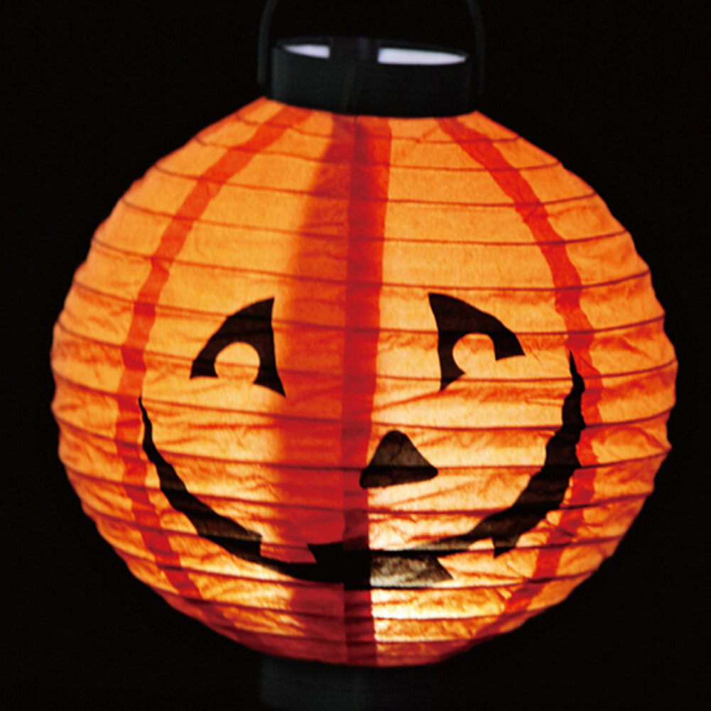 1 pcs Halloween Decoration <font><b>LED</b></font> Paper <font><b>Pumpkin</b></font> <font><b>Light</b></font> Hanging Lantern Lamp Halloween Props Outdoor Party Supplies