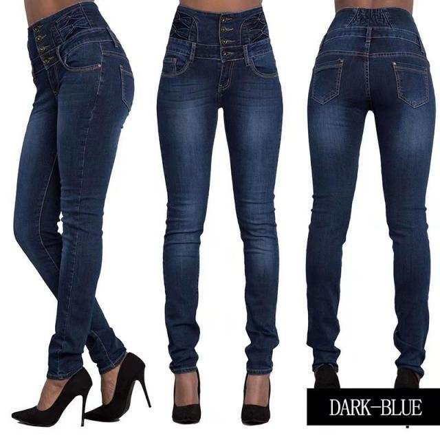 High Waist Skinny Pencil Denim Pants Elastic Stretch Jeans