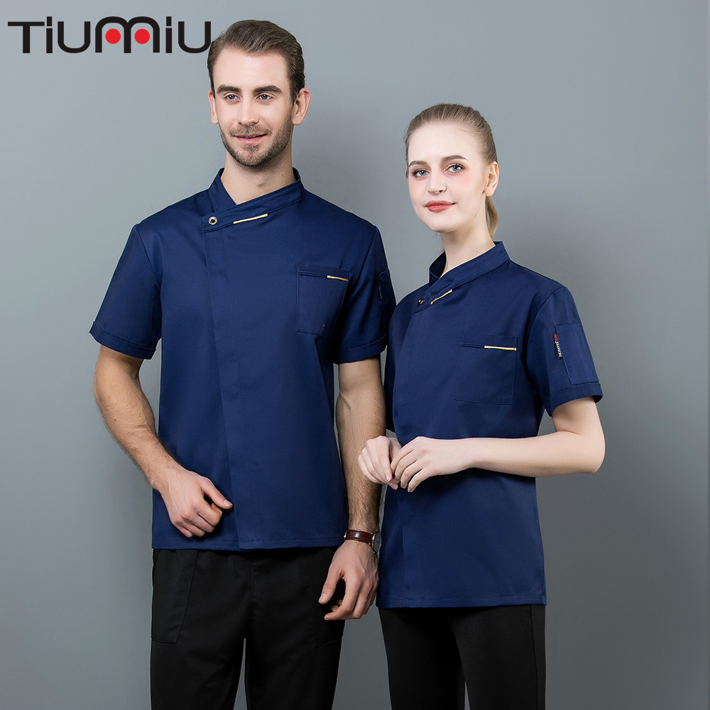 Chef Clothes Kitchen Canteen French Stlye Buffet Teahouse Uniform Men Women Hotel Barbershop Sushi Short Sleeve Cook Jacket