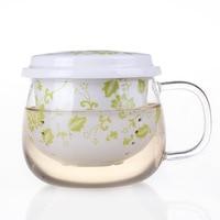 2015 Venda Limitada Gv> 10 Rodada Caneca de Cerveja de Vidro Vasos Copo de vidro Do Chá Com Um Forro de Filtragem Filtro de Porcelana Transparente bonito