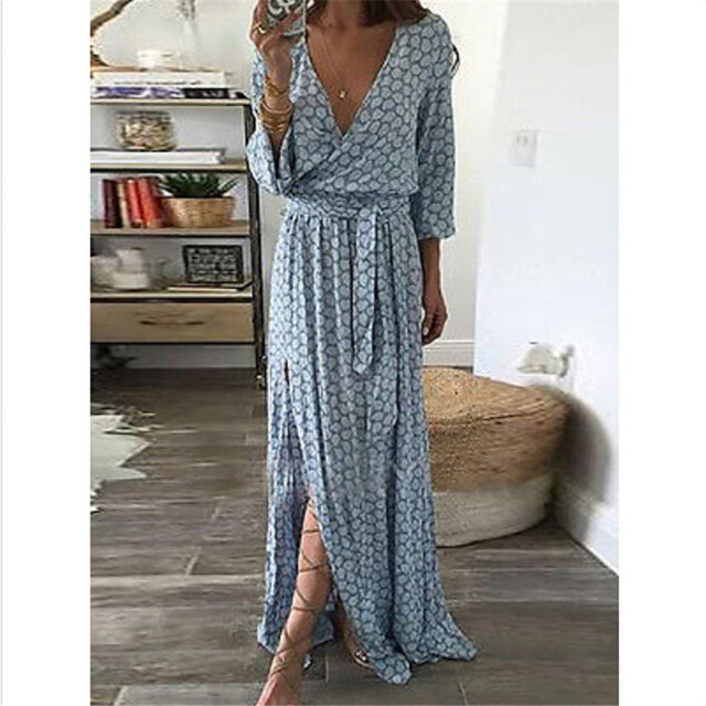 ef9604a8a4a Women Summer Boho Long Maxi Dress Long Sleeve V Neck Evening. Party Beach  Dresses Sundress Vestidos Mujer-in Dresses from Women s Clothing    Accessories on ...