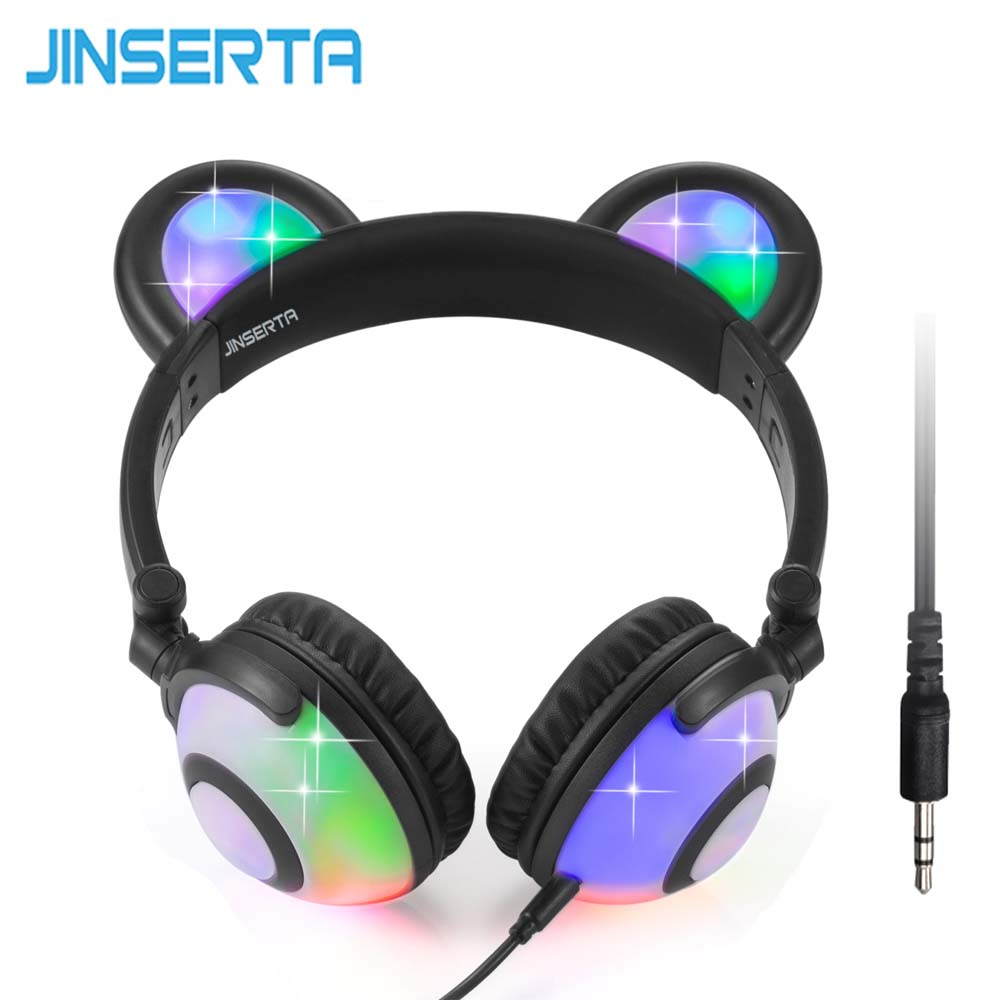 JINSERTA Foldable Flashing Glowing Bear Ear Headphones Gaming Headset Cosplay Earphone with LED light For PC Laptop Mobile Phone lobkin cat earphones children s headphones flashing glowing cosplay fancy over ear gaming headset with led light for girls kids